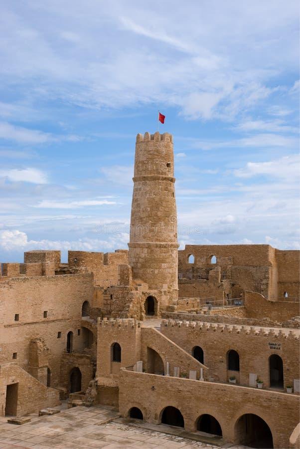 Toren van ribat in monastir, Tunesië stock fotografie