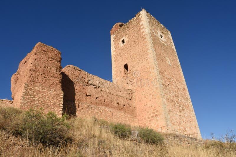 Toren van San Cristobal, muren, S XIV, Daroca royalty-vrije stock afbeelding