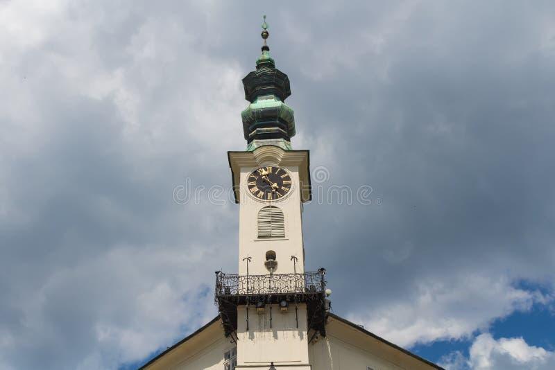 Toren van Stadhuis in Banska Stiavnica, Slowakije stock fotografie