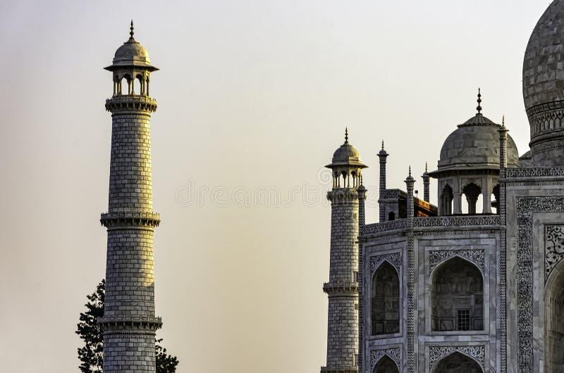 Toren van Taj Mahal in Agra stock foto