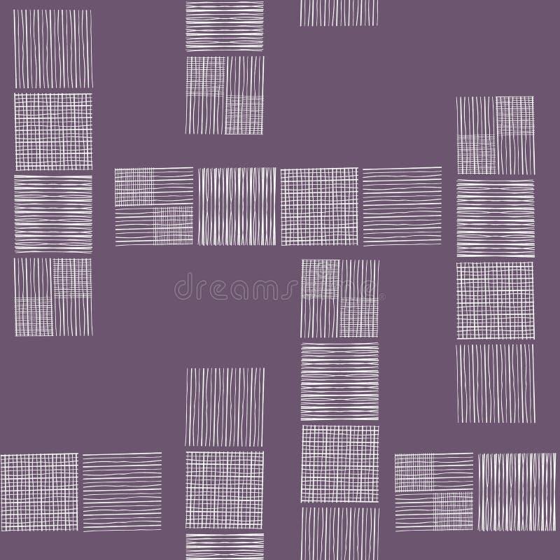 Torenblokken van hand getrokken krabbelvierkanten in ruim abstract ontwerp Naadloos vectorpatroon op zachte purpere achtergrond royalty-vrije illustratie