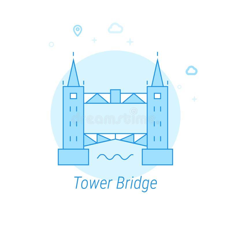 Torenbrug, de Vlakke Vectorillustratie van Londen, Pictogram Lichtblauw Zwart-wit Ontwerp Editableslag stock illustratie