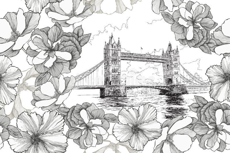 Torenbrug in Londen met rozen en hibiscuses, naadloos patroon Hand-drawn, vectorillustratie stock illustratie