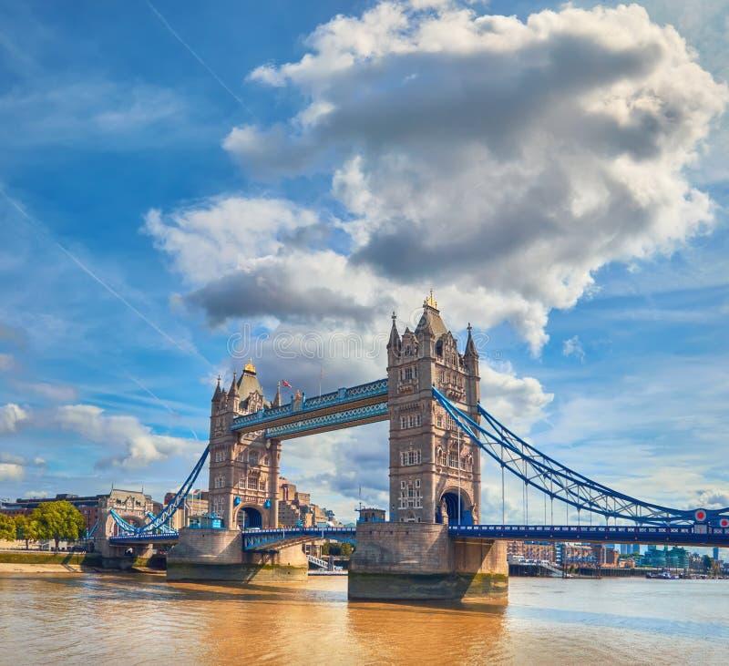 Torenbrug op een heldere zonnige dag in de Zomer, panoramisch beeld stock afbeeldingen