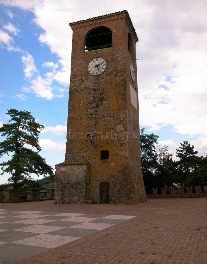 Torenklok van Castelvetro, Modena, Italië stock foto