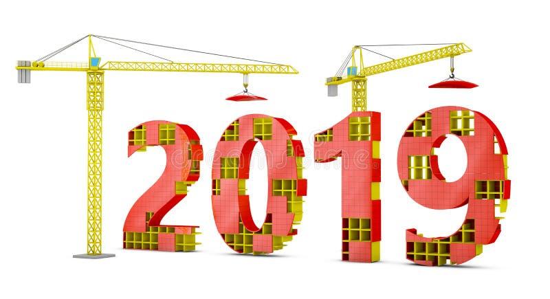 Torenkranen die 2019 bouwen stock illustratie