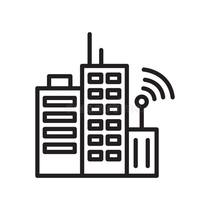 Torens die het vector geïsoleerde teken bouwen en het symbool van het transmissiepictogram op witte achtergrond, Torens die het c royalty-vrije illustratie
