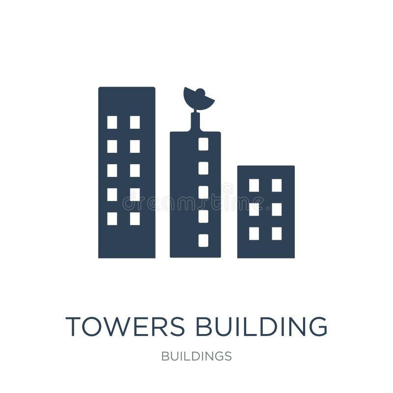 torens die transmissiepictogram in in ontwerpstijl bouwen torens die geïsoleerd transmissiepictogram bouwen op witte achtergrond  vector illustratie