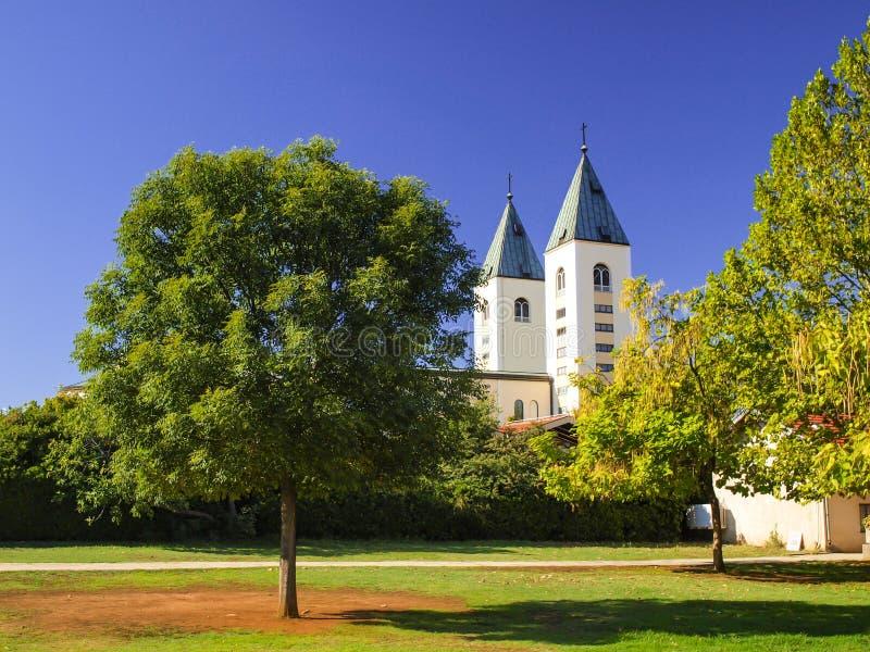 Torens van de kerk in Medjugorje royalty-vrije stock afbeelding