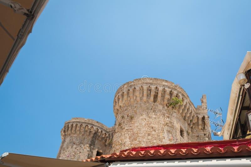 Torens van het Paleis van de Grote Meester van de Ridders van Rhodos Rhodos, Oude Stad, Eiland Rhodos, Griekenland, Europa royalty-vrije stock foto