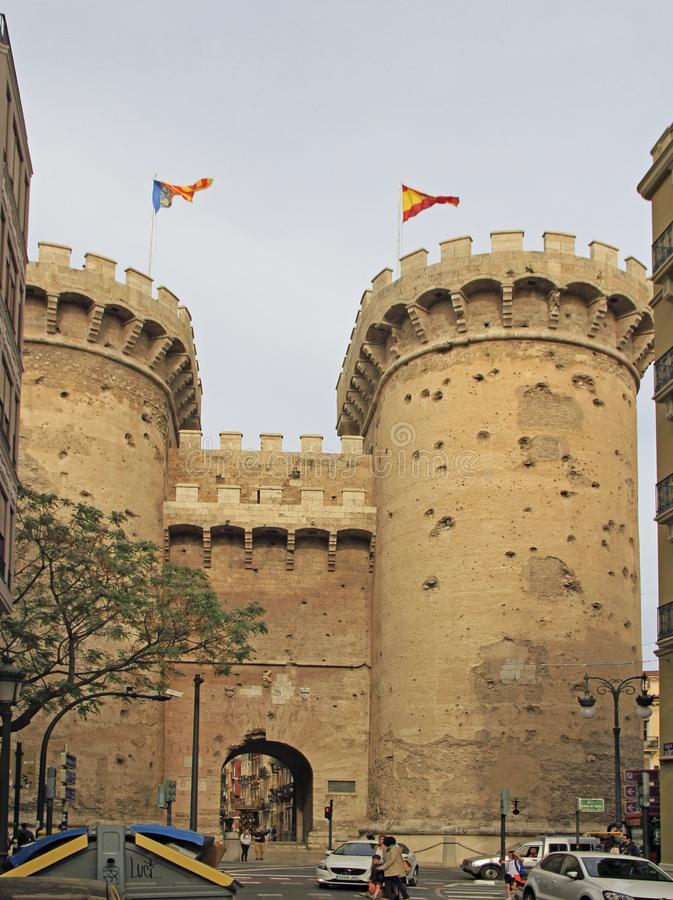 Torens van Kwart gallon in Spaanse stad Valencia stock fotografie