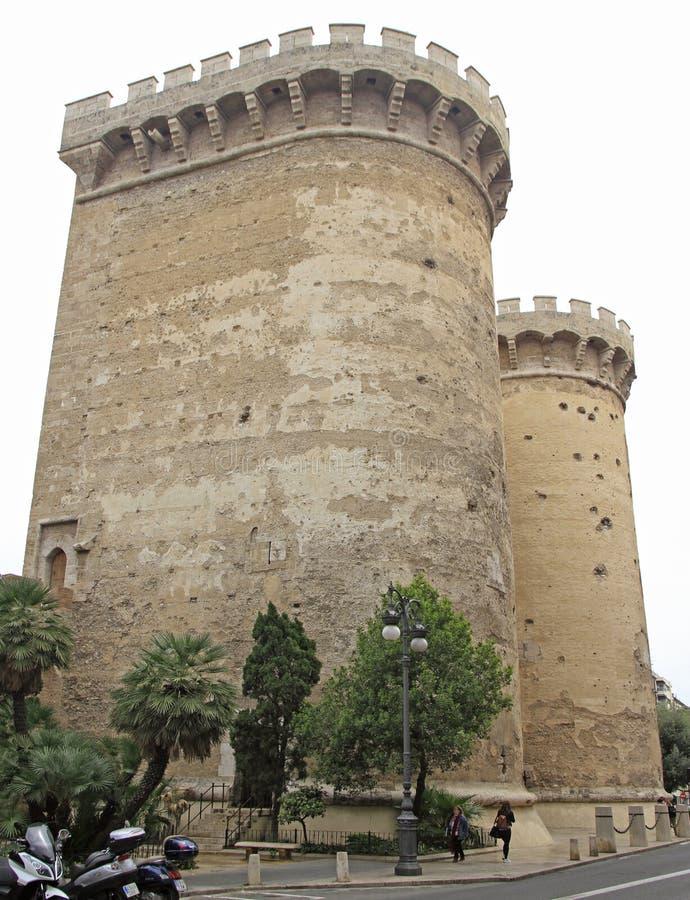 Torens van Kwart gallon in Spaanse stad Valencia royalty-vrije stock foto