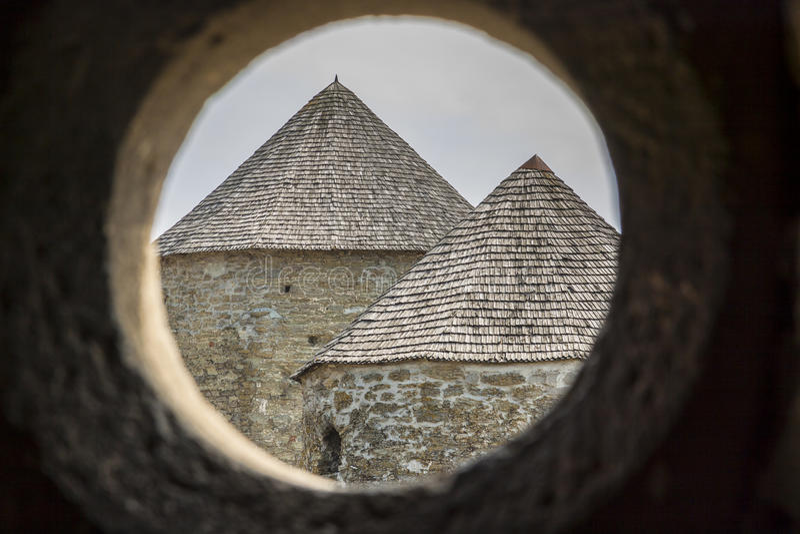 Toren van kasteel in Kamianets Podilskyi, de Oekraïne, Europa. royalty-vrije stock afbeeldingen