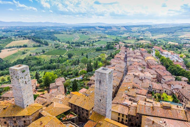 Torens van oude stad San Giminiano, Toscanië, Italië stock afbeelding