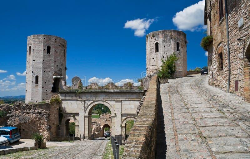 Torens van Properzio. Spello. Umbrië. stock afbeeldingen