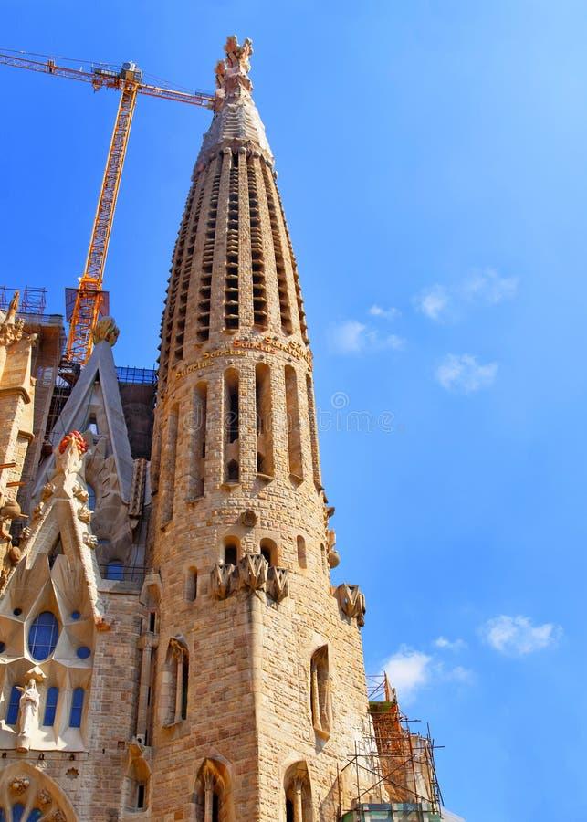 Torenspits van Sagrada Familia in Barcelona in Spanje royalty-vrije stock afbeelding