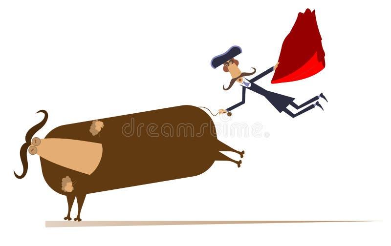 Torero de la historieta y un ejemplo aislado toro ilustración del vector