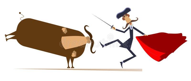 Torero de la historieta y un ejemplo aislado toro libre illustration