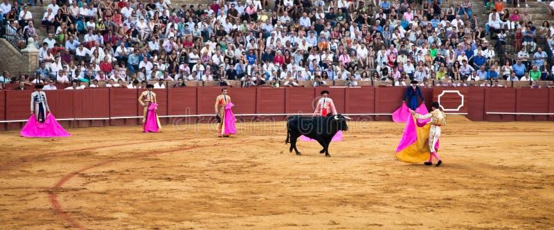 Toreros de Corrida en el Real Maestranza de Caballeria en Sevilla, imágenes de archivo libres de regalías