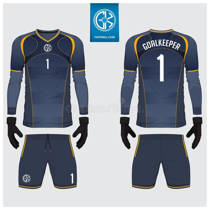 Torhütertrikot oder Fußballausrüstung, langärmliges Trikot, Torhüterhandschuh-Schablonendesign T-Shirt Spott oben Front, hintere  lizenzfreie abbildung