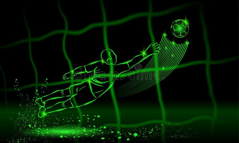 Torhüterversuch, zum des Balls zu fangen hintere Ansicht durch das Netz sechs Ikonen platziert auf einen schwarzen Hintergrund lizenzfreie abbildung