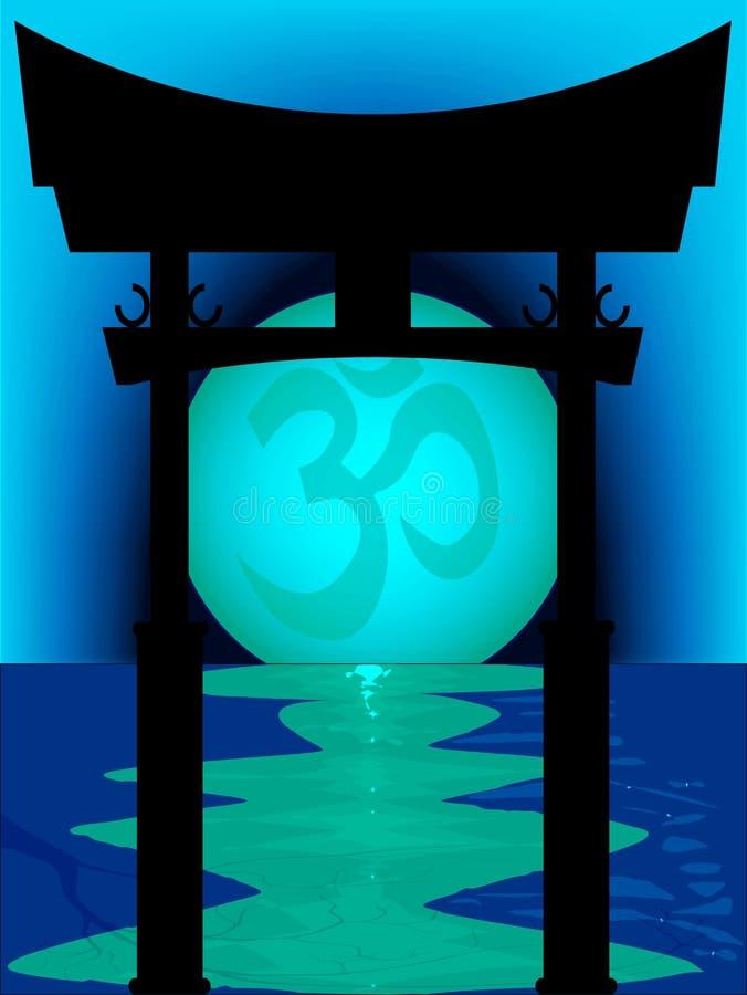 Tori Gate Blue Sunset japonesa ilustração royalty free