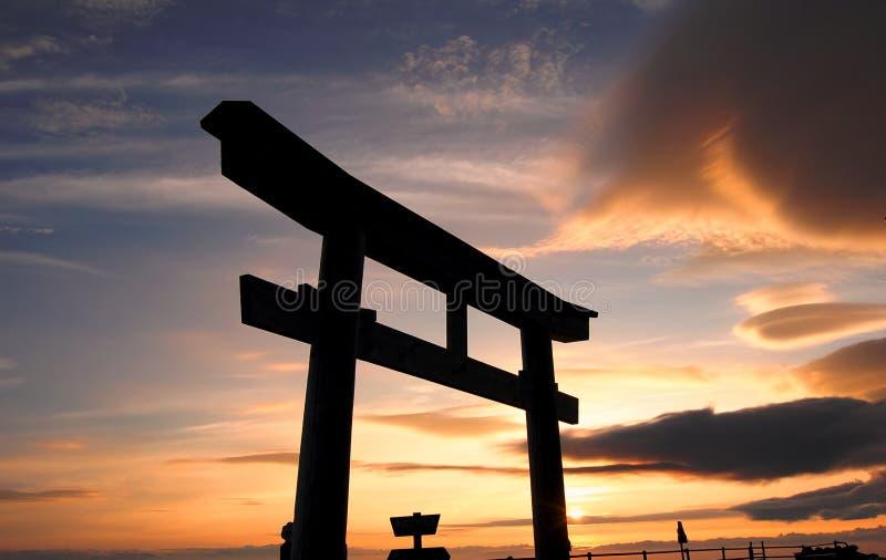 Tori Gate At Mt. Fuji Stock Photo