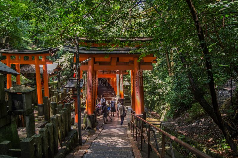 Tori Gate roja en la capilla de Fushimi Inari en Kyoto, Jap?n foto de archivo