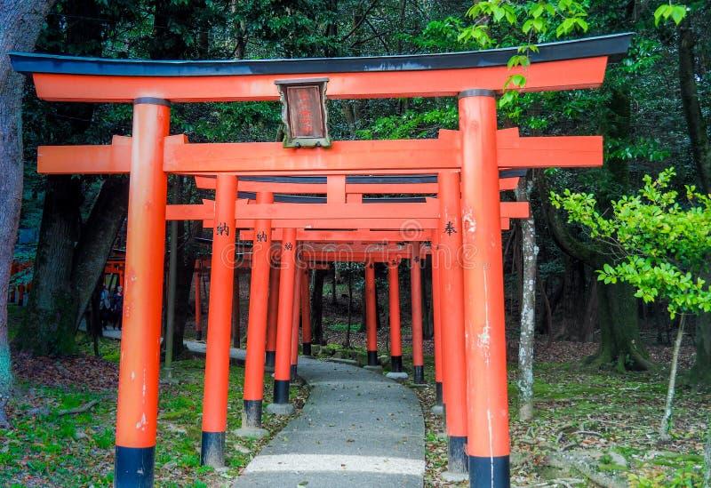 Tori Gates roja de la capilla de Kashihara foto de archivo libre de regalías