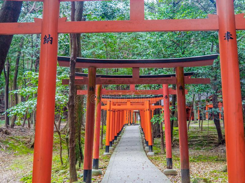Tori Gates roja de la capilla de Kashihara fotos de archivo libres de regalías