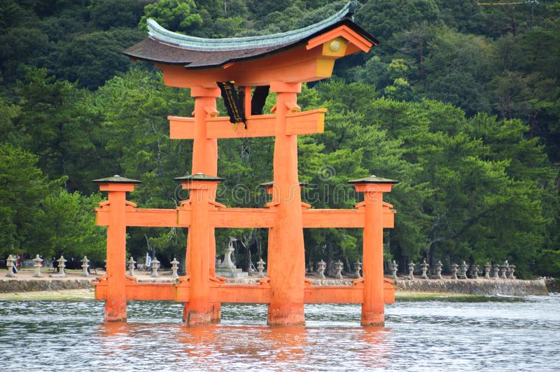 Tori Of The Itsukushima Shrine At Miyajima Island Japan. 2016 royalty free stock photo