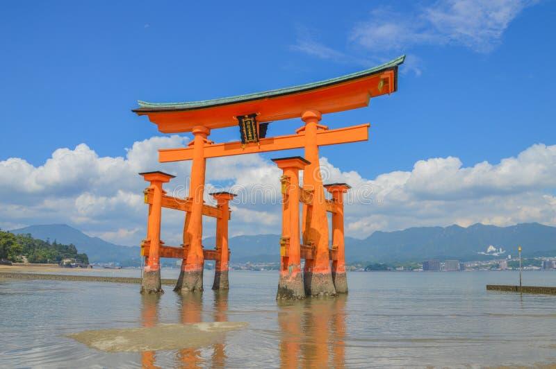 Tori Of The Itsukushima Shrine At Miyajima Island Japan. 2016 stock photography