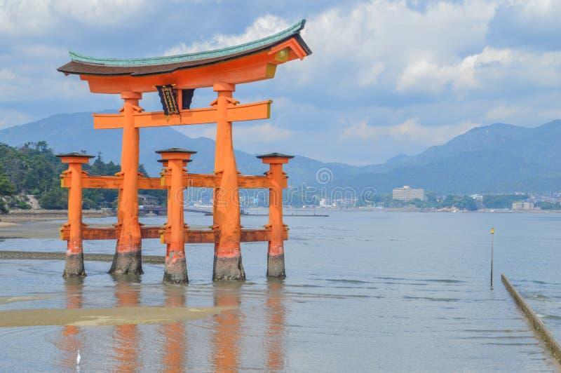 Tori Of The Itsukushima Shrine At Miyajima Island Japan. 2016 stock images