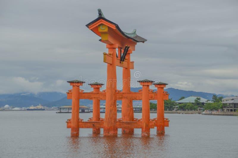 Tori Of The Itsukushima Shrine At Miyajima Island Japan. 2016 stock image