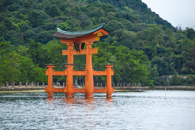 Tori Of The Itsukushima Shrine At Miyajima Island Japan. 2016 royalty free stock image