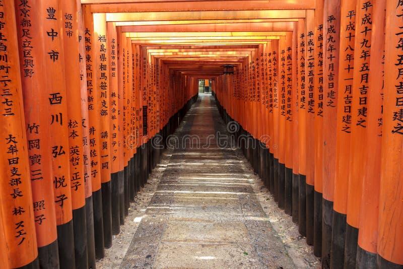 torii门隧道在Fushimi Inari寺庙的在京都 库存照片