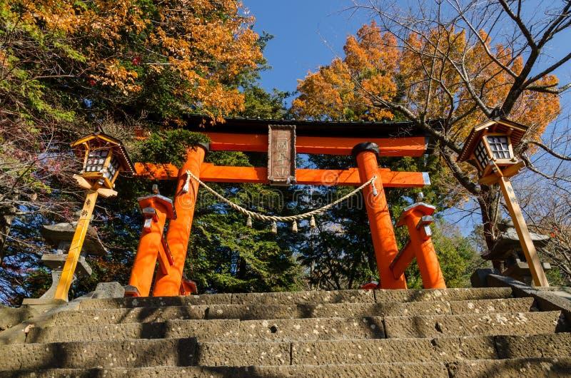 Torii all'entrata della pagoda di pace di Chureito fotografia stock