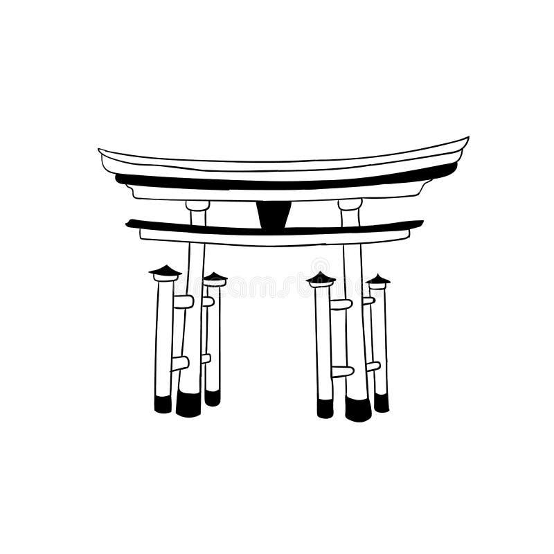 Torii brama, Japoński WEKTOROWY punkt zwrotny, konturu rysunek, ikona Odizolowywająca na Białym tle ilustracji