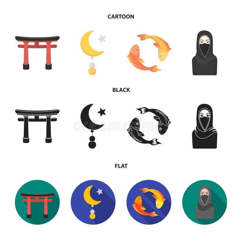 Torii, carp koi, woman in hijab, star and crescent. Religion set collection icons in cartoon,black,flat style vector royalty free illustration