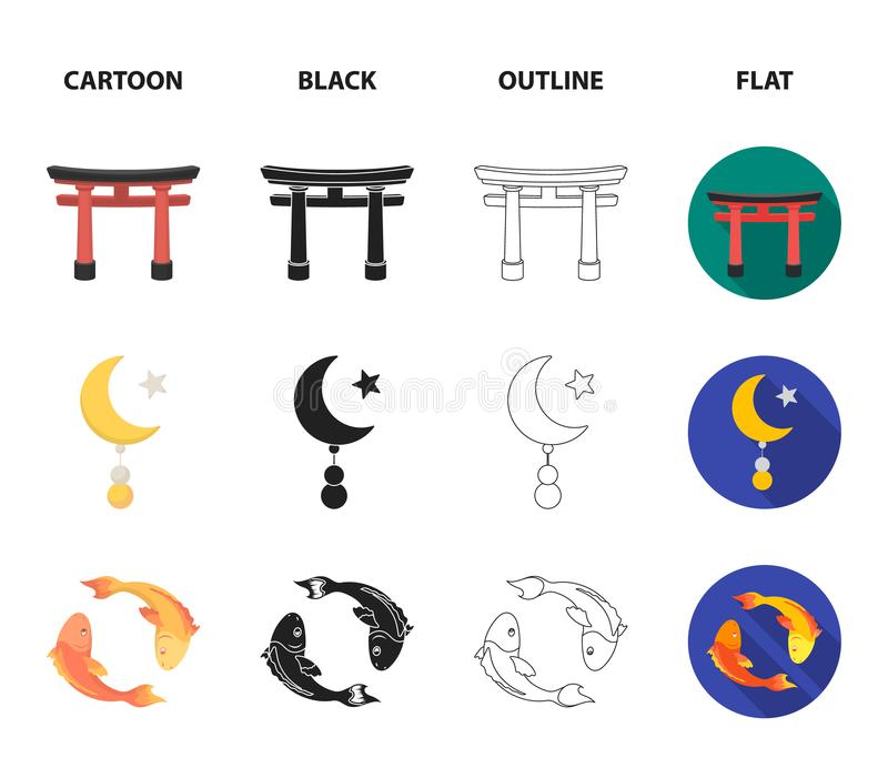 Torii, carp koi, woman in hijab, star and crescent. Religion set collection icons in cartoon,black,outline,flat style stock illustration