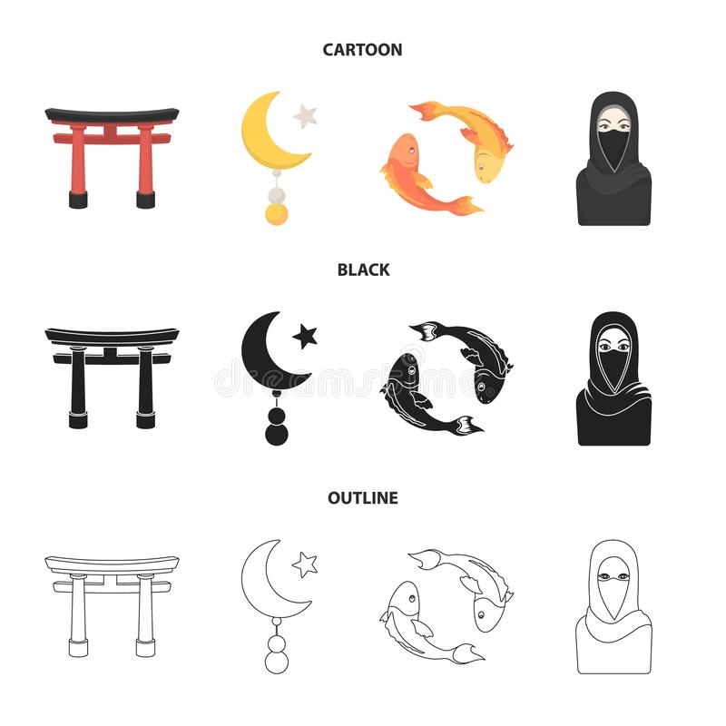 Torii, carp koi, woman in hijab, star and crescent. Religion set collection icons in cartoon,black,outline style vector vector illustration