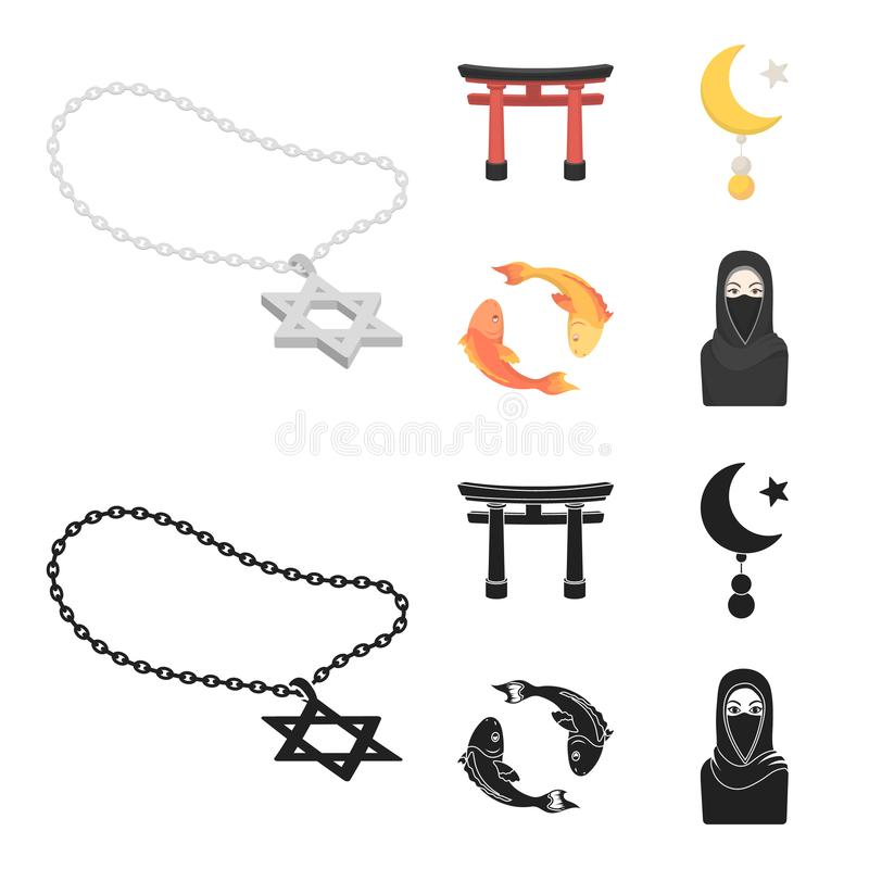Torii, carp koi, woman in hijab, star and crescent. Religion set collection icons in cartoon,black style vector symbol vector illustration