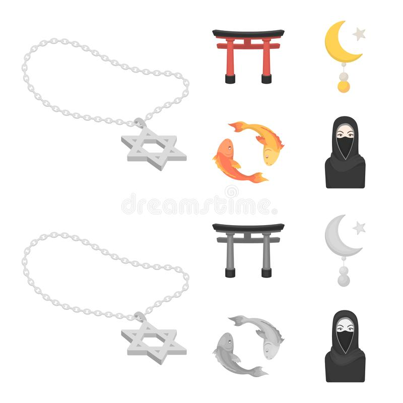 Torii, carp koi, woman in hijab, star and crescent. Religion set collection icons in cartoon,monochrome style vector royalty free illustration