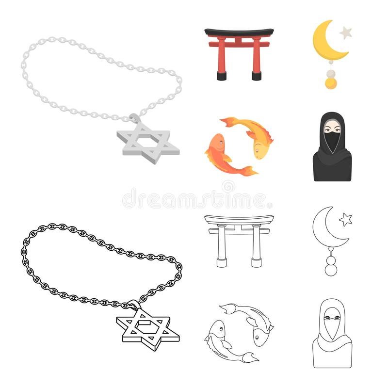 Torii, carp koi, woman in hijab, star and crescent. Religion set collection icons in cartoon,outline style vector symbol royalty free illustration