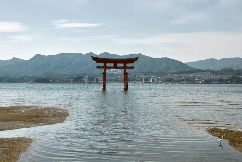 Torii de flutuação no santuário de Itsukushima imagem de stock royalty free