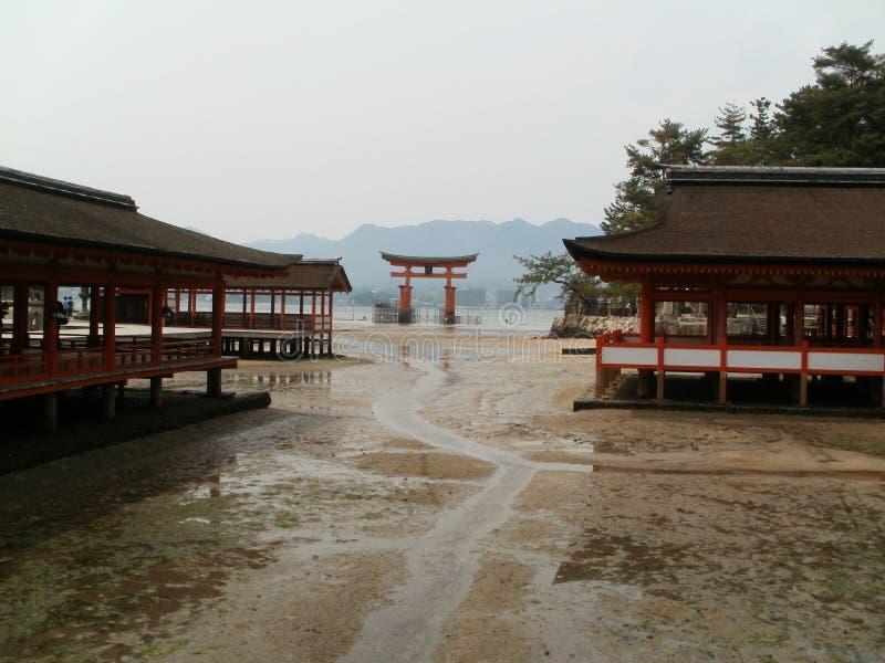 Torii en Itsukushima-Heiligdom stock foto's