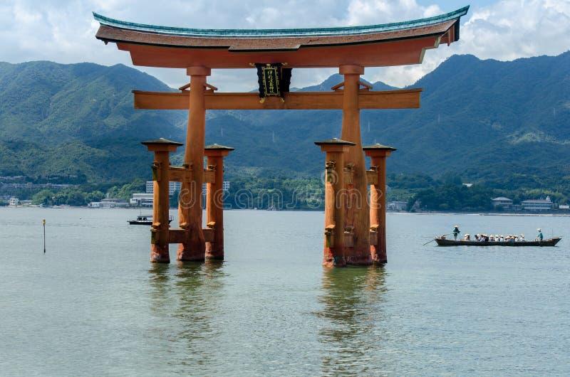 Torii -  floating gate of Miyajima (Itsukushima ) island. Japan stock photography