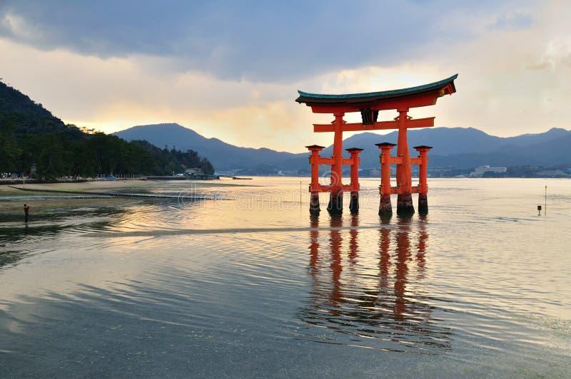 Torii gate. On Miyajima island in Japan royalty free stock images