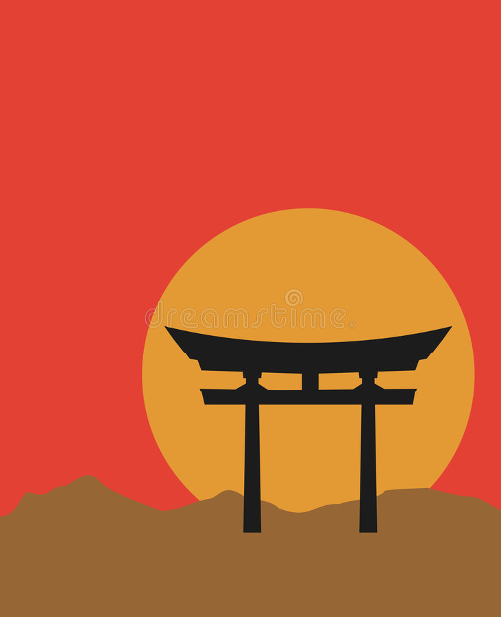 Torii gate. Silhouette of Japanese Torii gate at sunset royalty free illustration