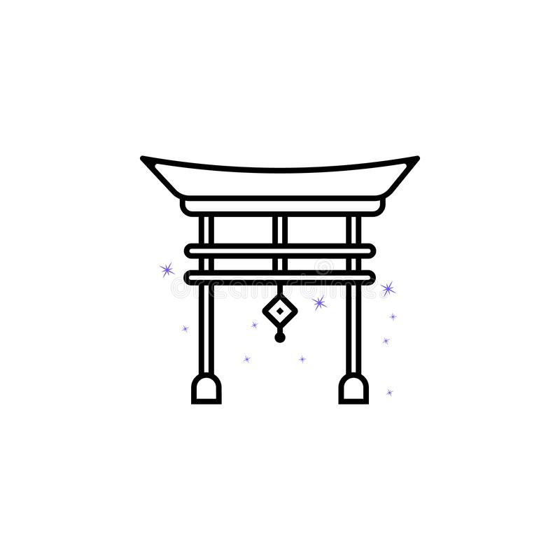 Torii gate, China culture icon. Element of China culture icon. Thin line icon for website design and development, app development vector illustration